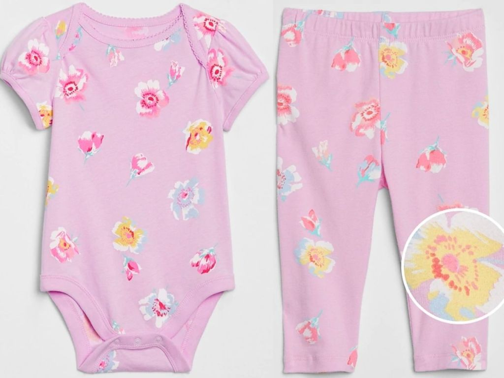 baby pink flower body suit and leggings