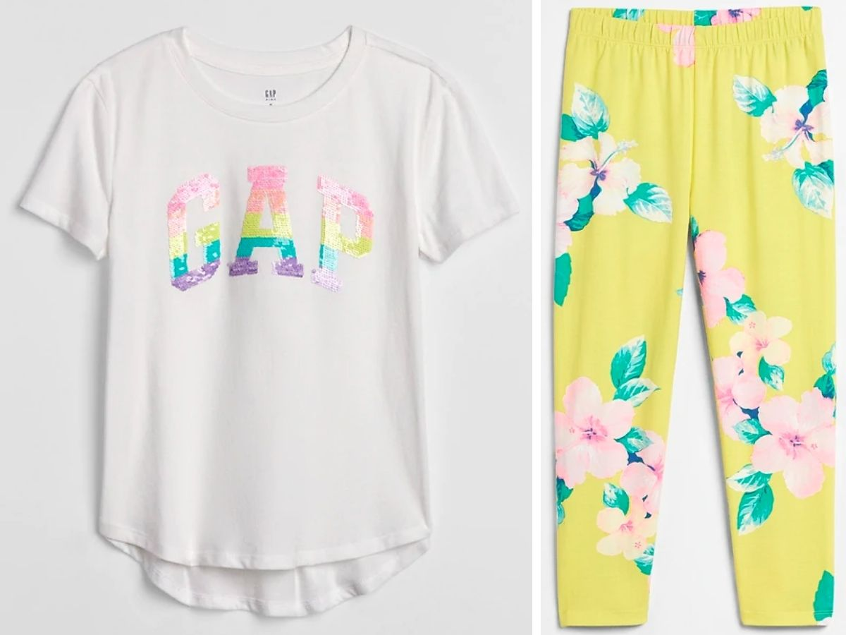 white tee with sequin gap and yellow floral pants