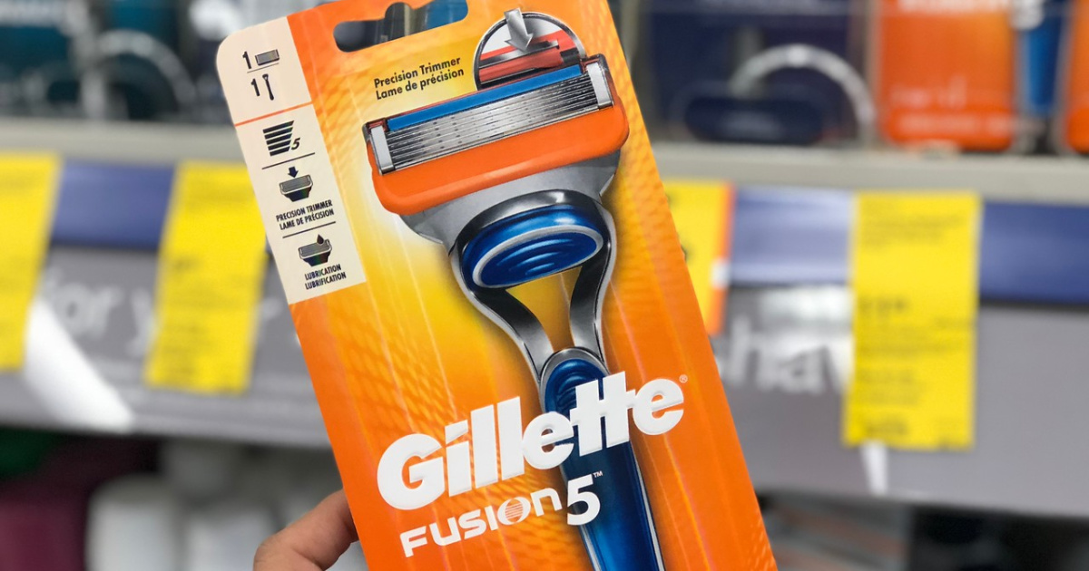 boxed package with razor in it by store display