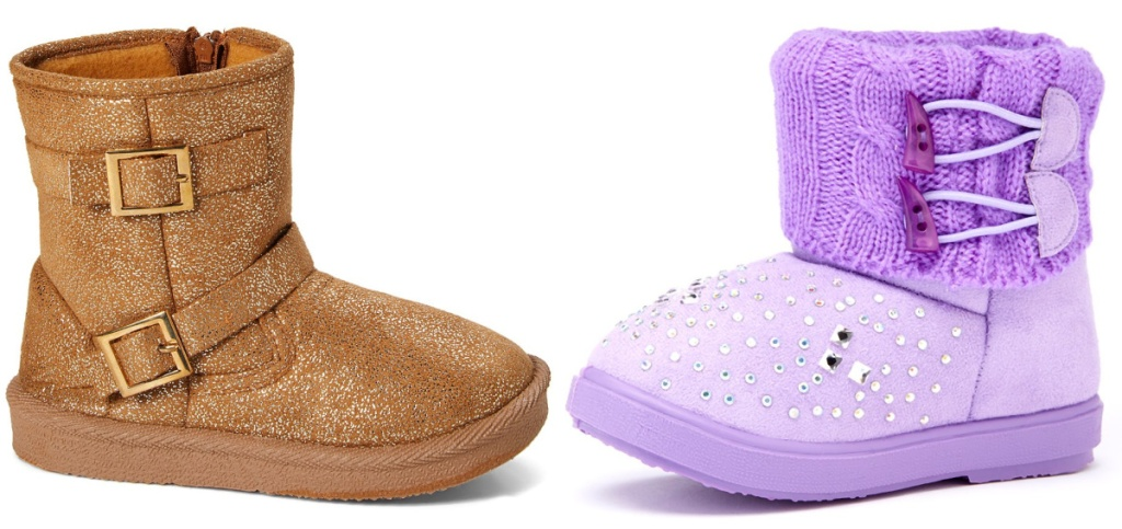 girls fall boots in gold and purple