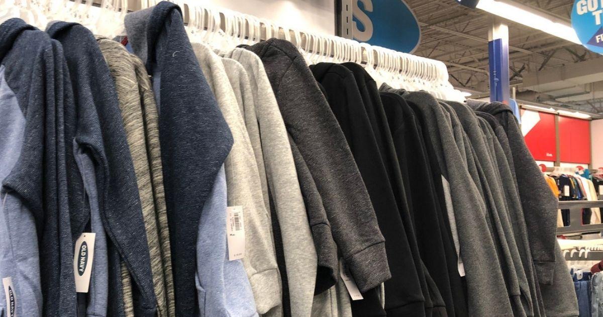 Old Navy sweatshirts hanging in store