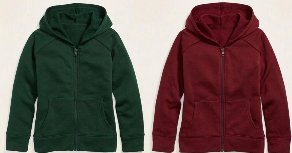 green and burgundy zip up sweatshirts