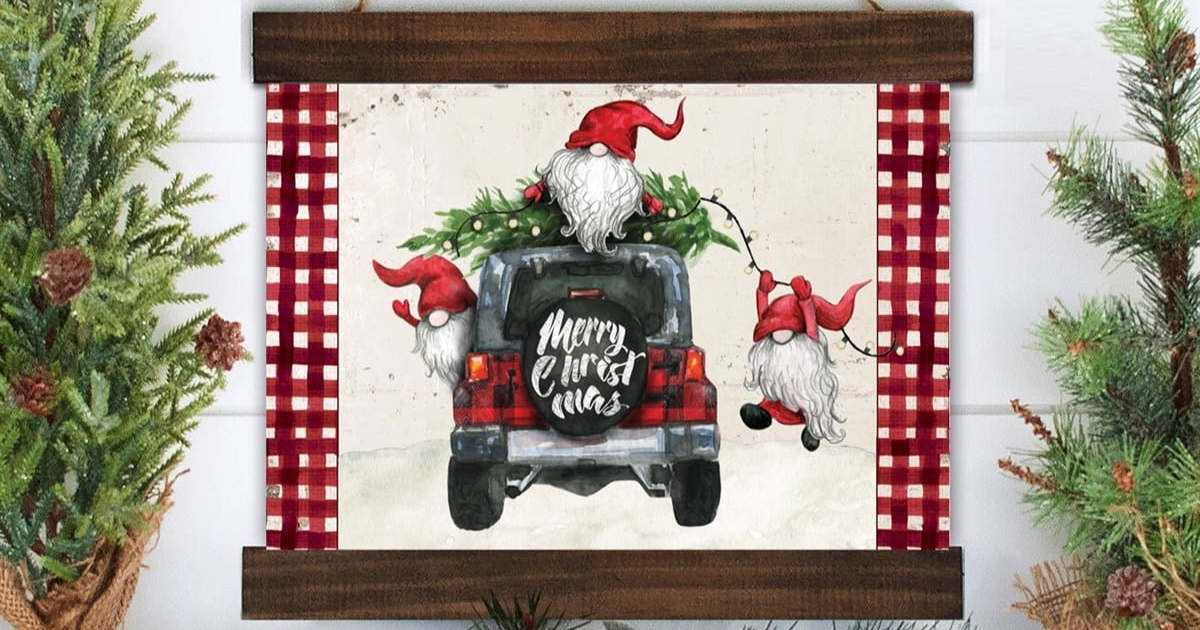 framed print with gnomes on a truck