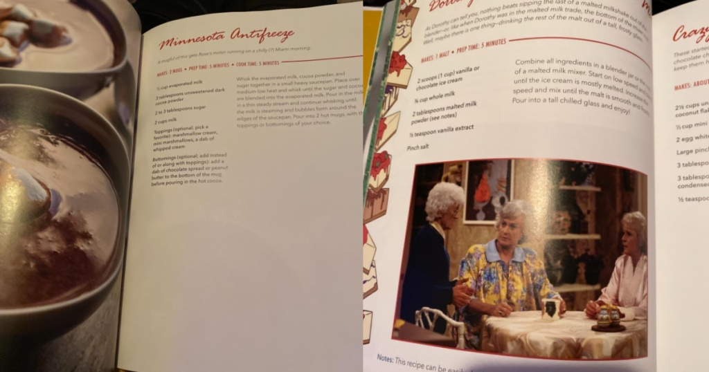 golden girls cookbook opened to two recipes