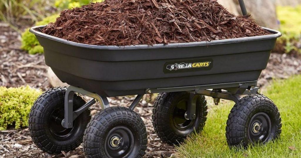 gorilla dump cart filled with mulch