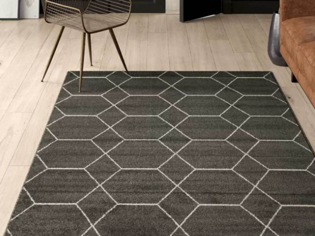 gray geometric area rug in living room
