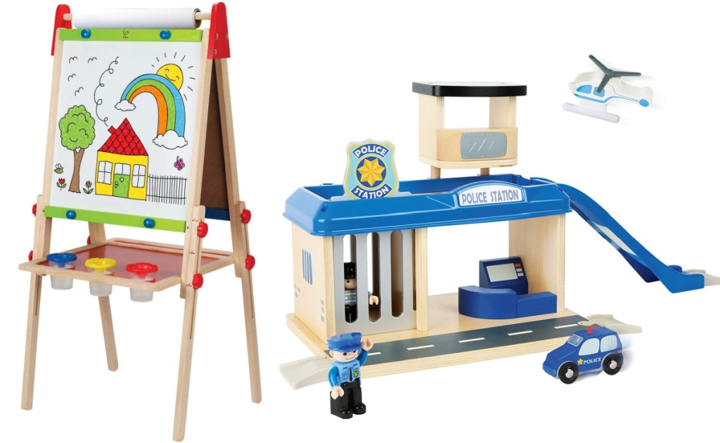 hape art easel and small foot police station playset
