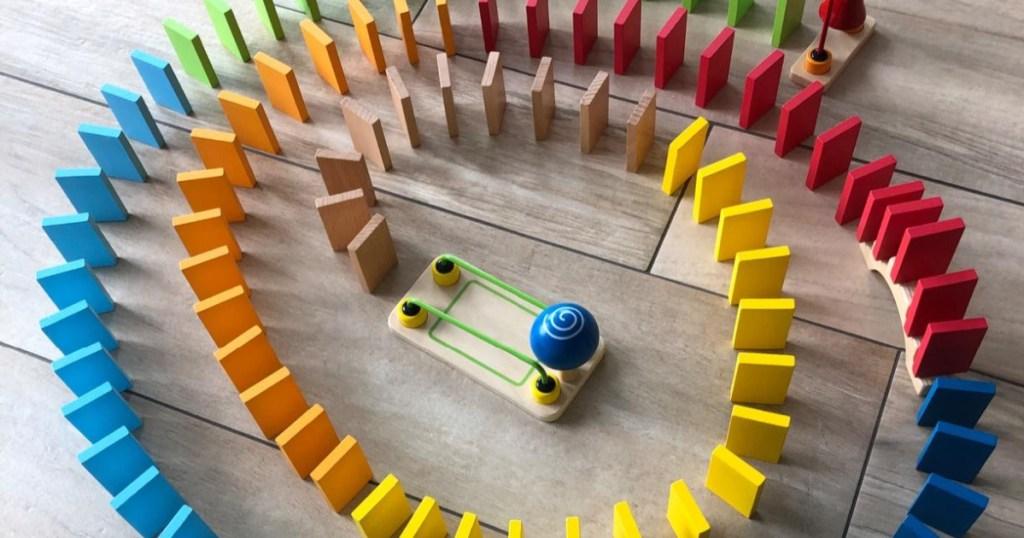 hape domino set in rainbow spiral
