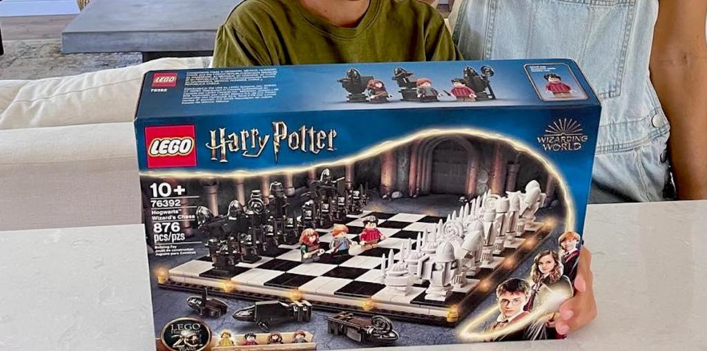 harry potter lego chess set on counter