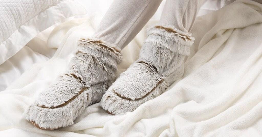 heatable boots on feet