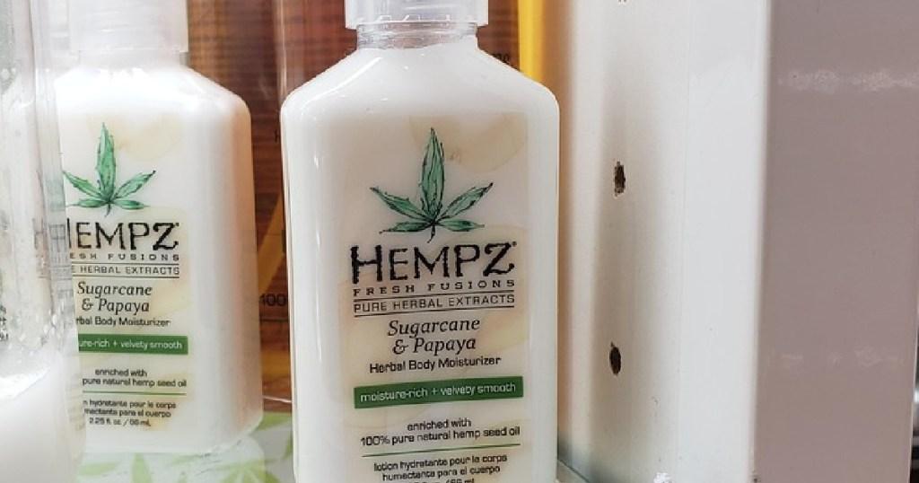 bottle of lotion on store shelf