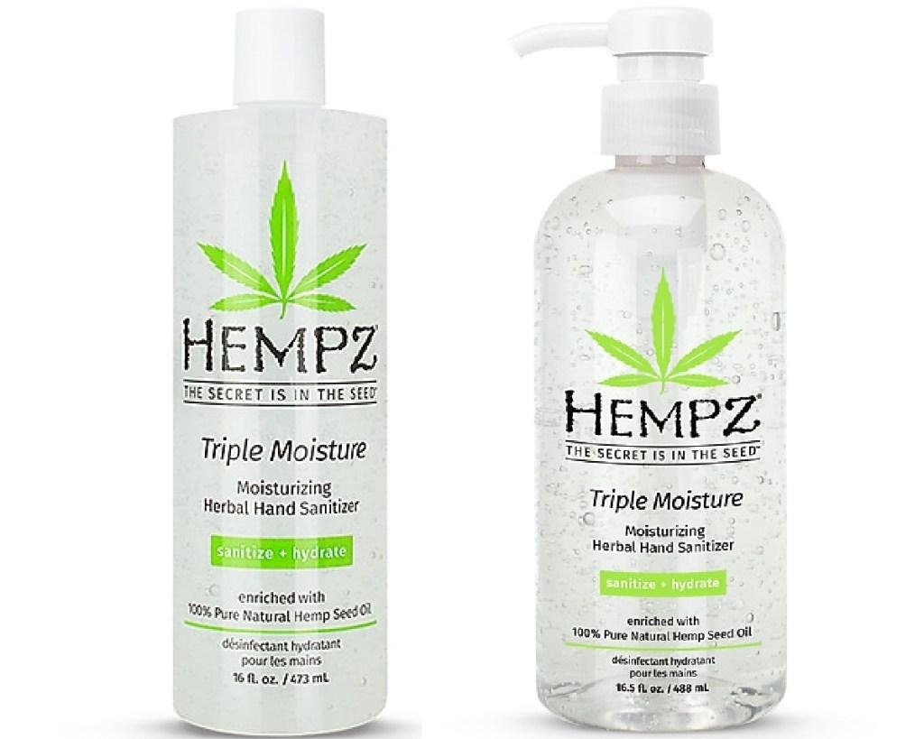 hempz sanitizer two bottles side by side