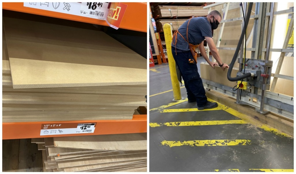 home depot employee cutting wood for porch sign