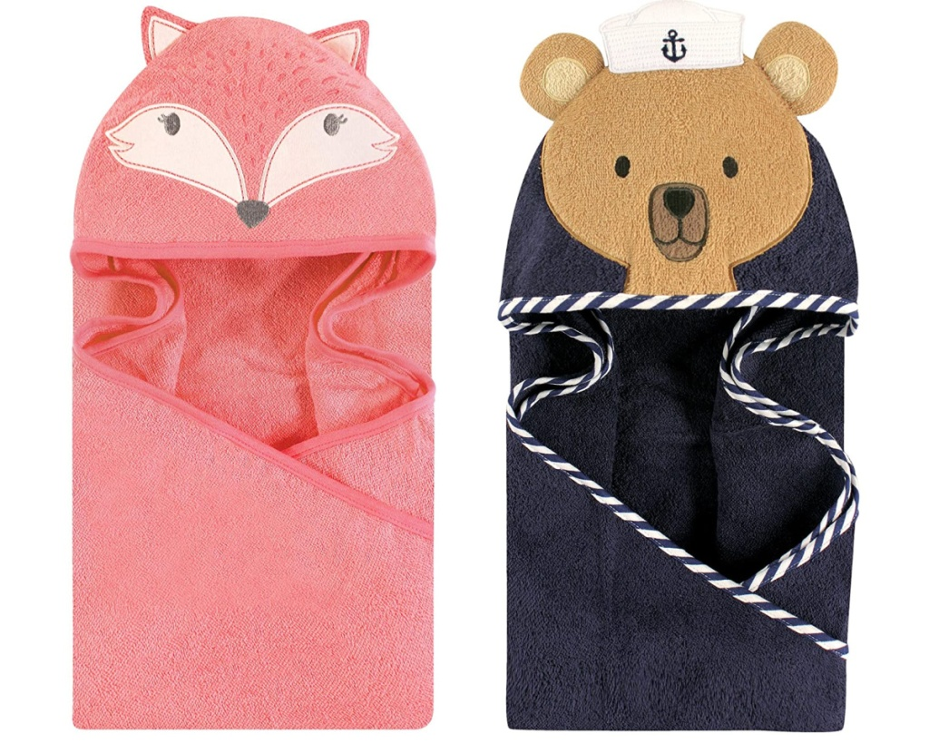 hudson hooded pink fox towel and blue sailor bear towel