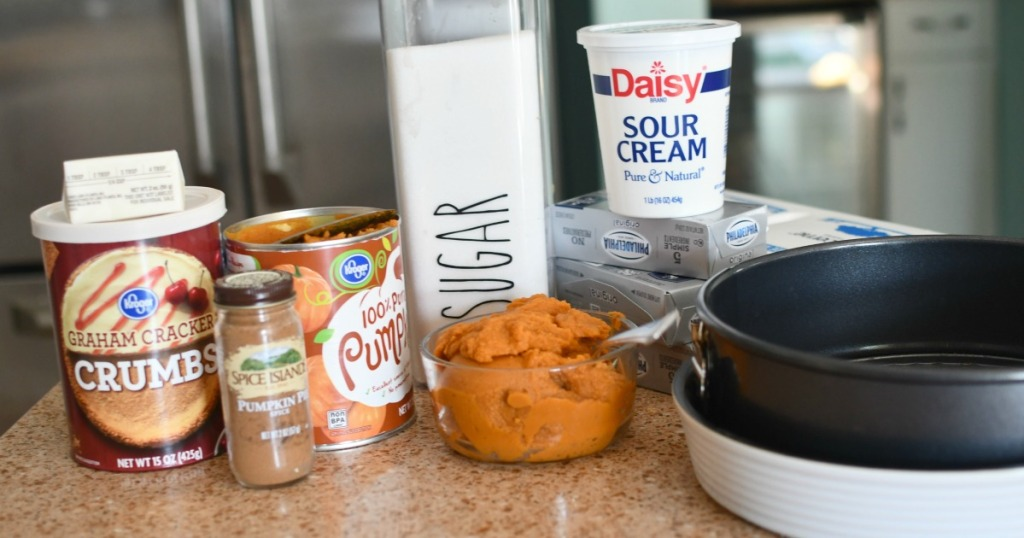 ingredients for pumpkin cheesecake