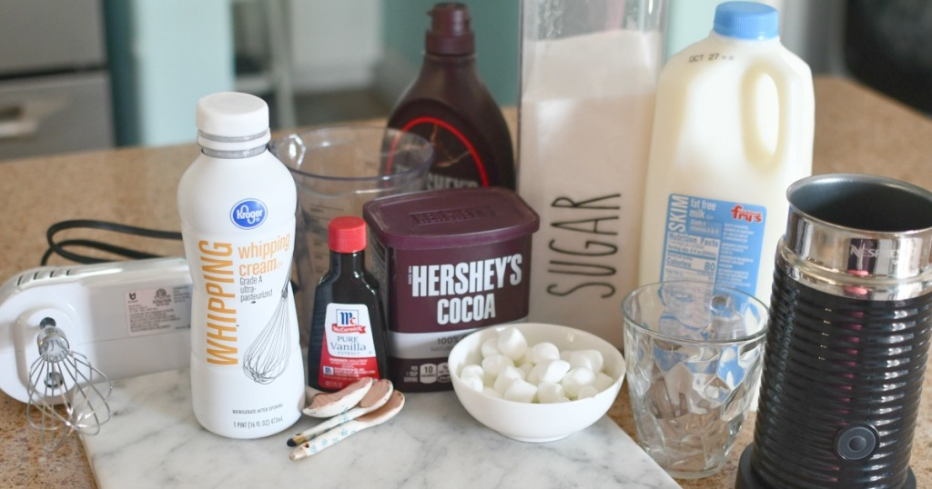 ingredients for whipped hot chocolate