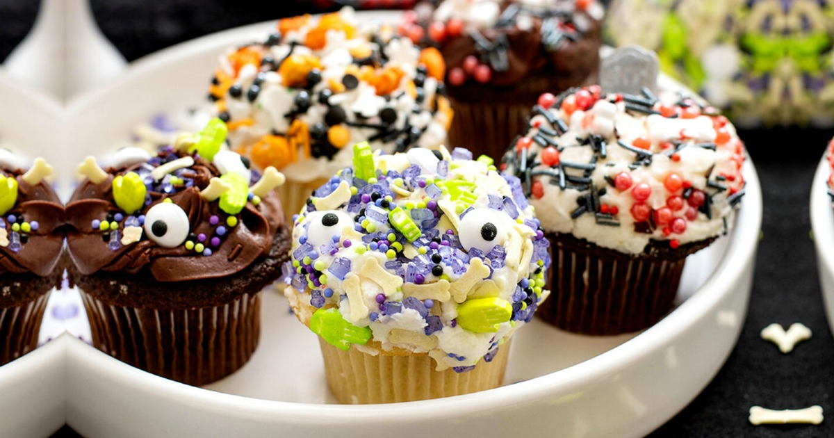 cupcakes decorated for Halloween with sprinkles