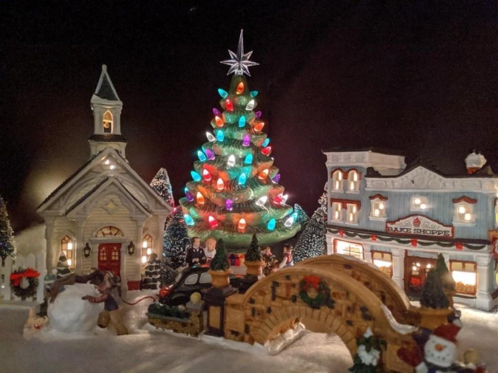 ceramic Christmas tree in miniature train village