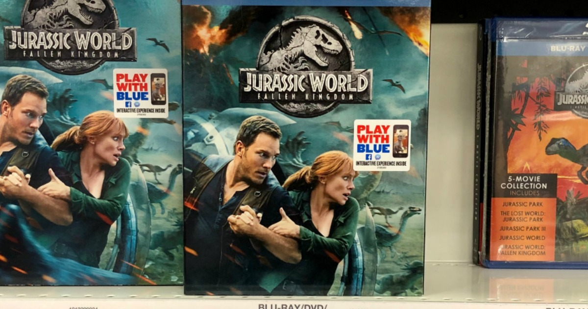 jurassic world movie packages on a store shelf