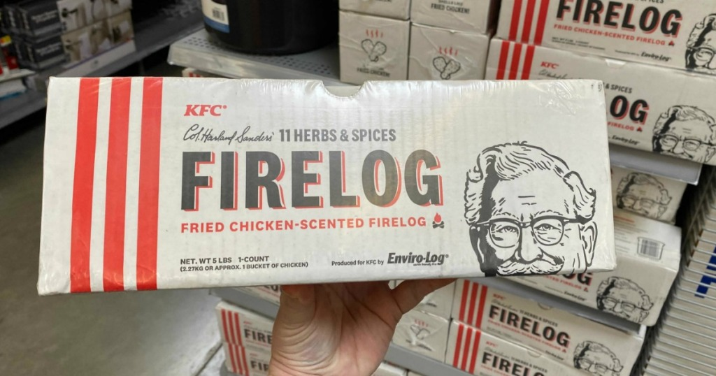 kfc fried chicken fire log being held up in package in store