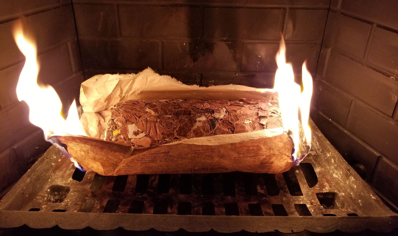 kfc firelog burning in fireplace