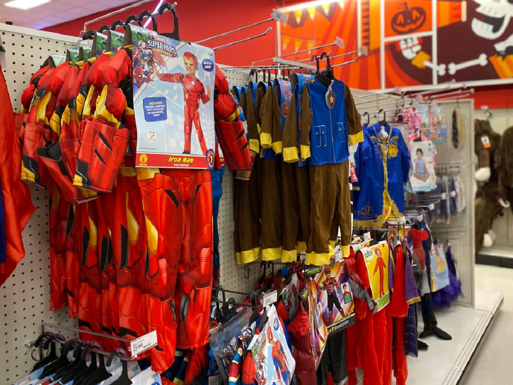 display in store with kids Halloween costumes