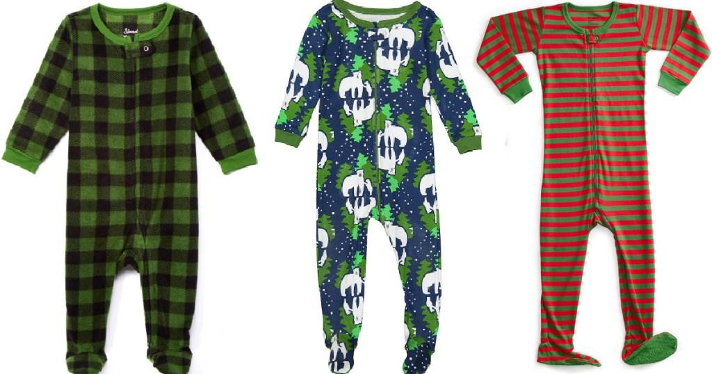 three styles of kids footie pajamas holiday print