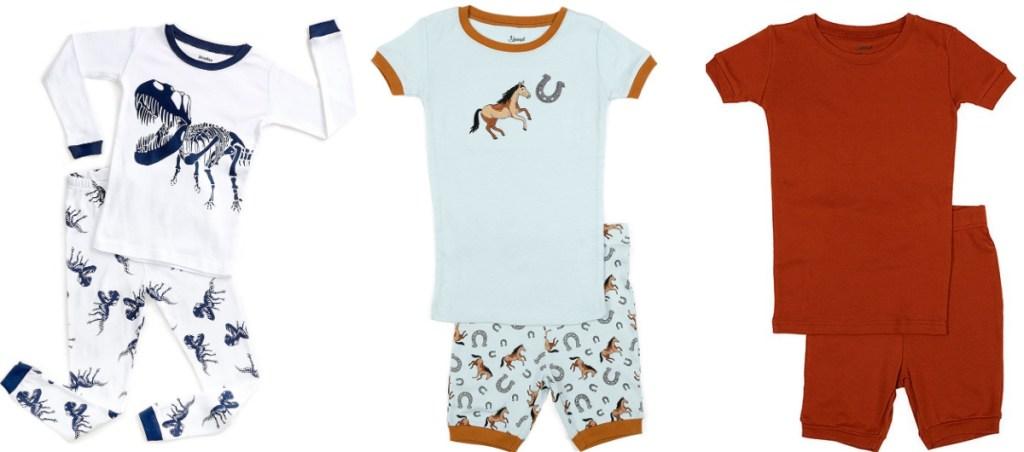 kids pajama sets dinosaur and horse prints