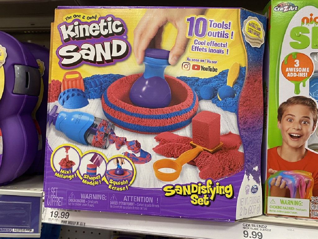 store shelf with packaged toy that contains Kinetic sand