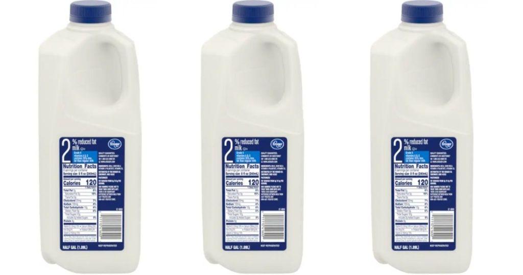 3 half gallons of Kroger milk