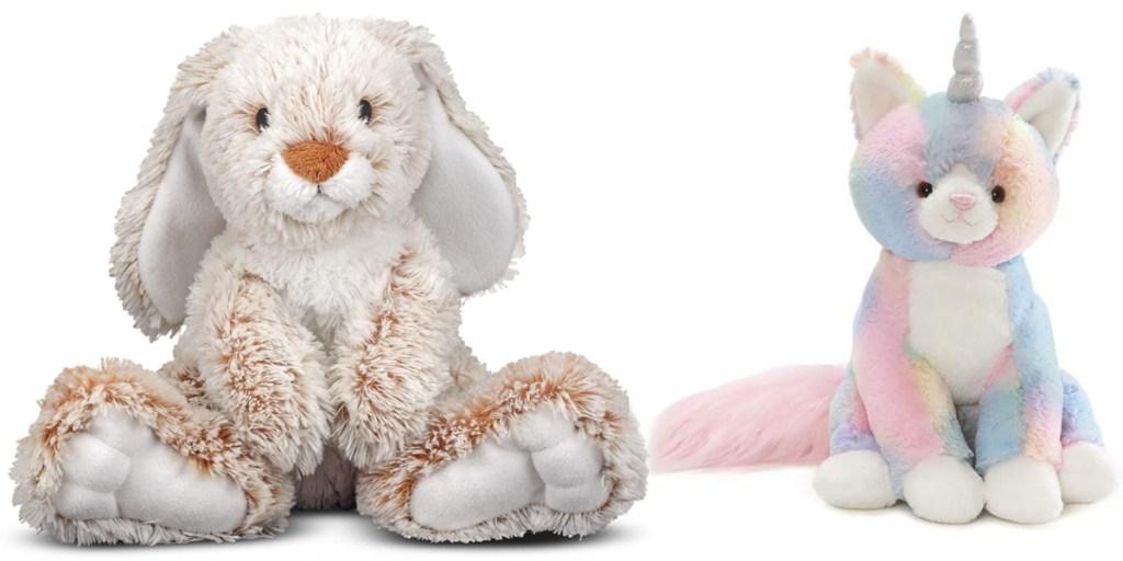 large plush animals bunny and cat unicorn