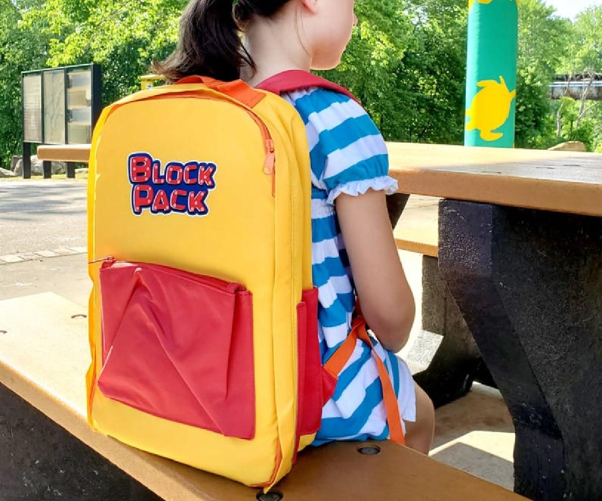 lego backpack on back on little girl