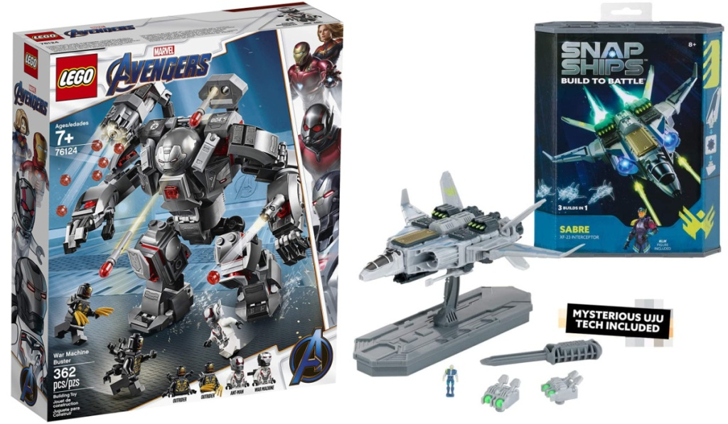 lego marvel avengers robot and snap ships set