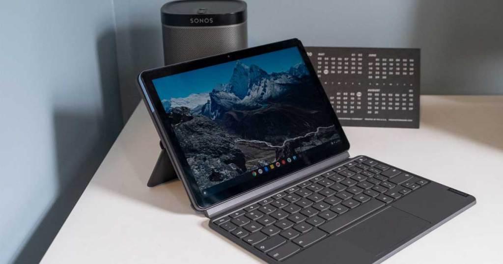 "Lenovo Chromebook Duet 10.1"" ChromeOS 2-in-1 Tablet w/ Detachable Keyboard on a desk"