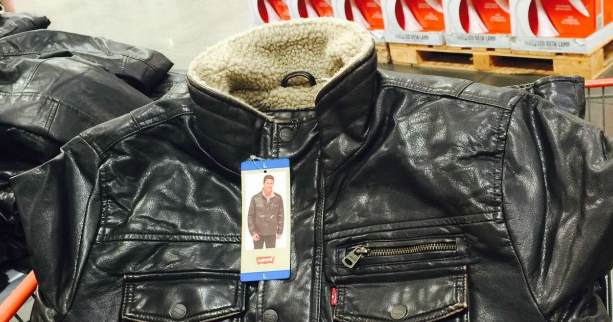 mens leather jacket in a shopping cart in store