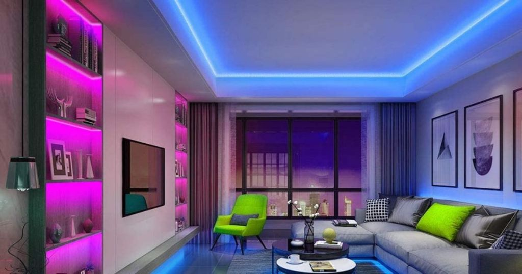 living room with pink and blue lighting
