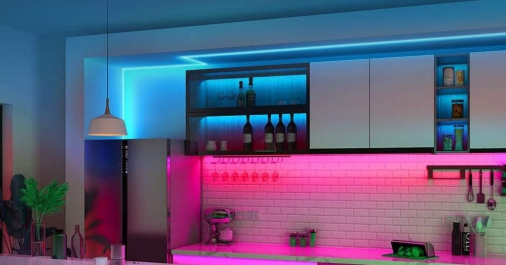 blue and pink lighting in the kitchen
