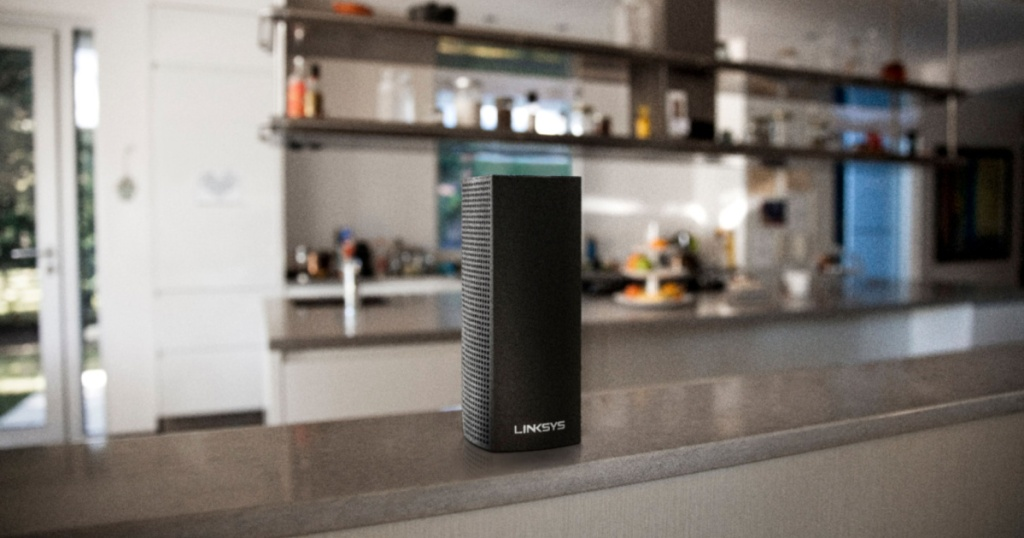 linksys velop wifi system on kitchen counter