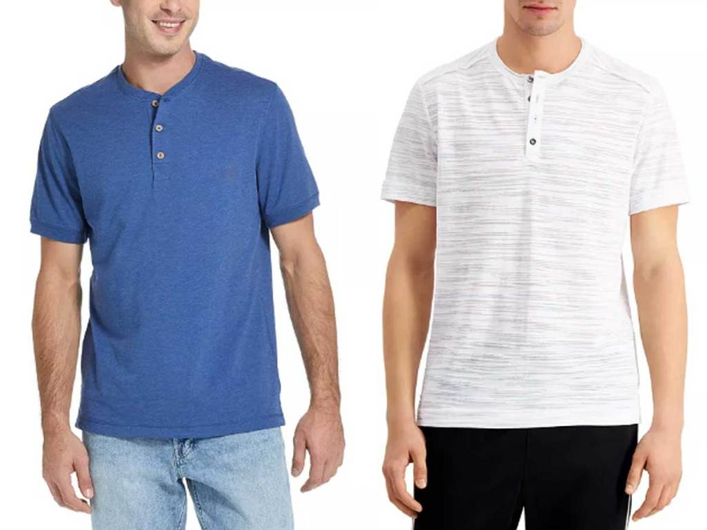 two male models wearing henley shirts