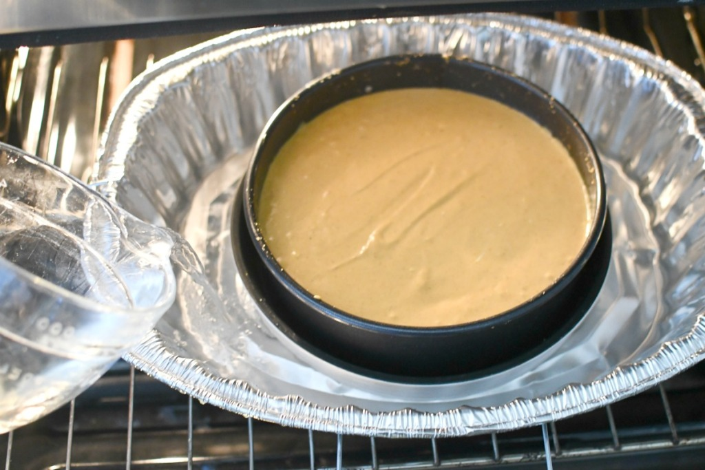 making a water bath in the oven for cheesecake