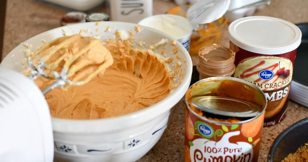 making pumpkin cheesecake filling