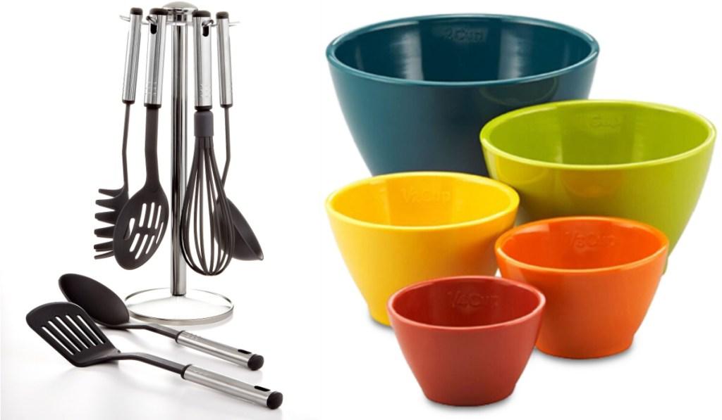 martha stewart utensils and rachael ray nesting cups