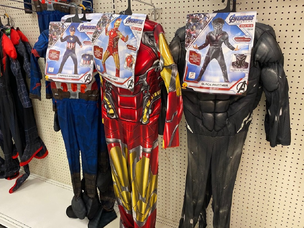 store display with Marvel costumes hanging up