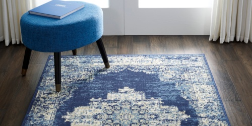 Navy Blue Medallion 5×7 Area Rug Only $34 on Walmart.com