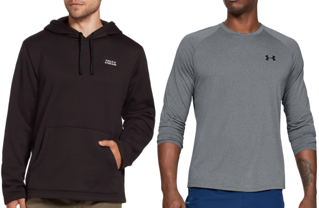 men wearing a black field and stream sweater and a great under armour long sleeved shirt