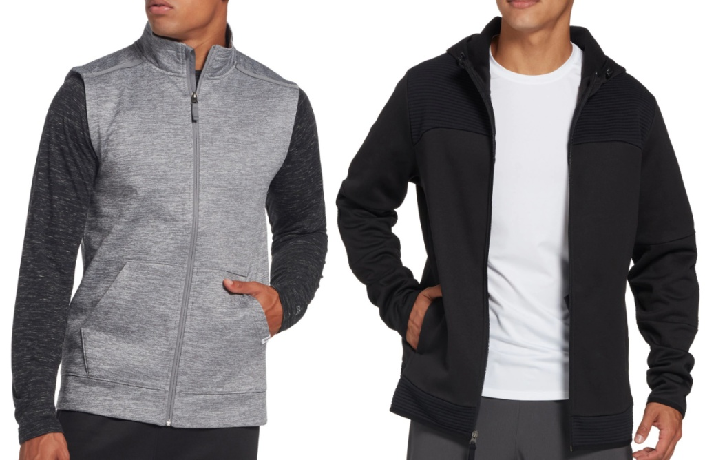 men wearing a grey vest and a black zip up sweater