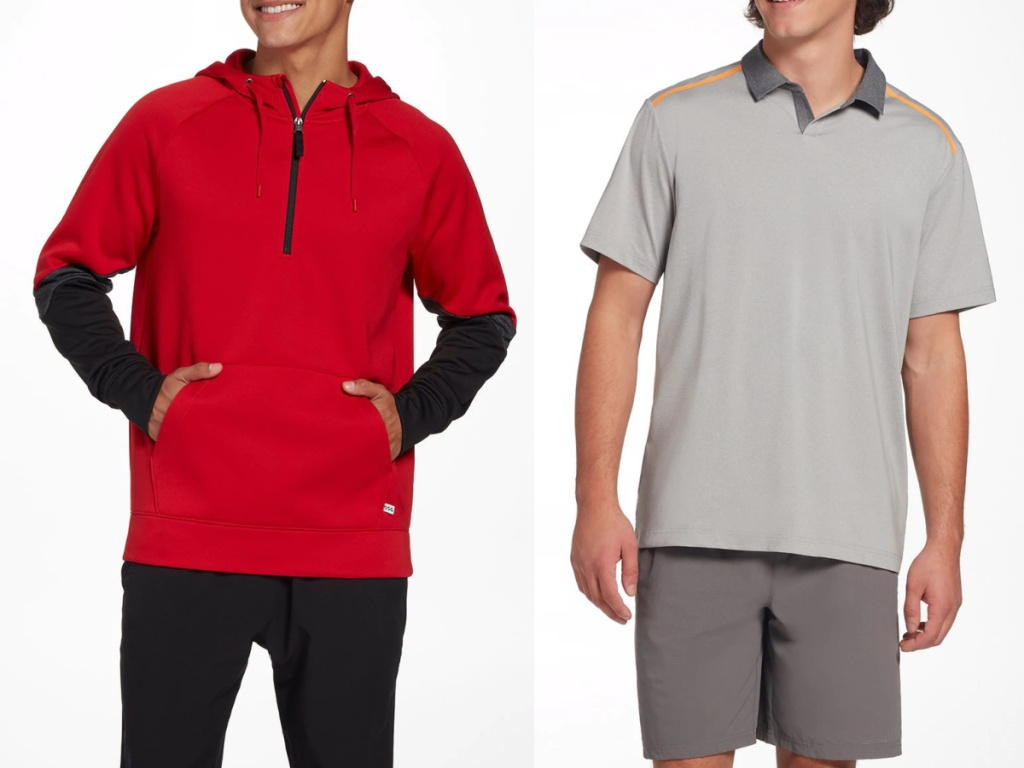 men wearing a red and black sweater and grey polo shirt