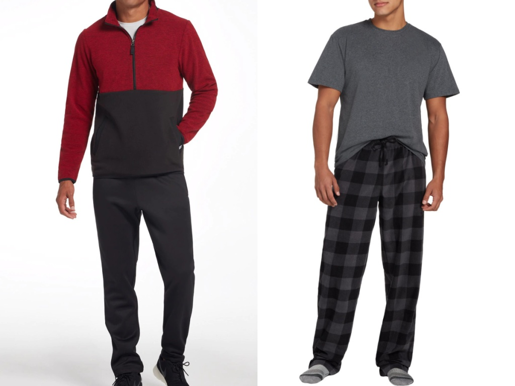 men wearing a red and black sweater and pajamas
