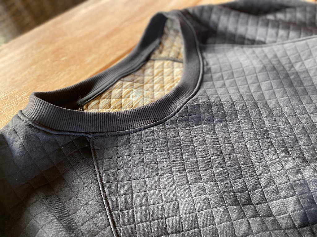 mens ato sweater showing detail in quilted fabric