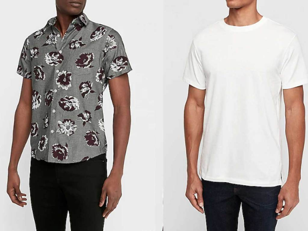 male models wearing floral shirt and white t shirt